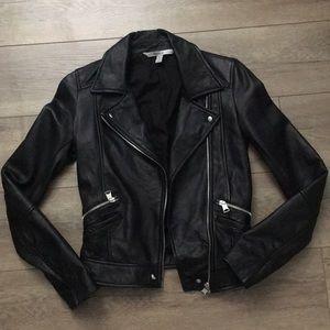 ZARA 100% Real Leather Moto Jacket, XS